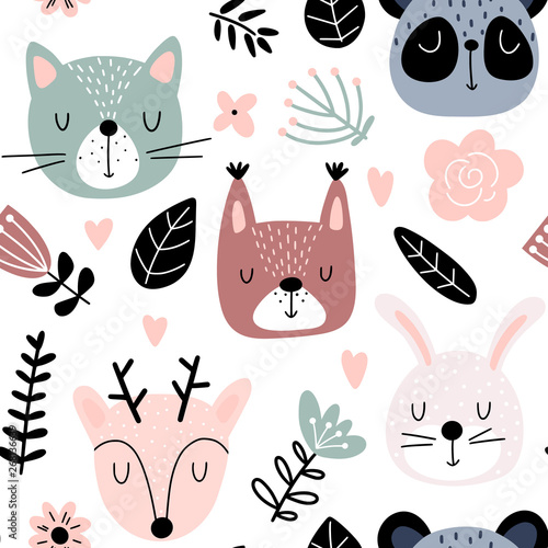 plakat Seamless background with animals and flowers