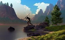 A Native American Man Spear Fi...