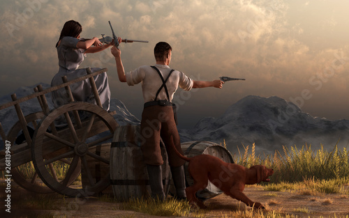 Fototapeta  In this Western scene, a man, a woman, and their dog make a last stand on an old wooden cart in the Wild West