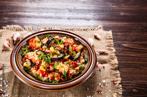 Fototapety, obrazy: Couscous with sauce and vegetables