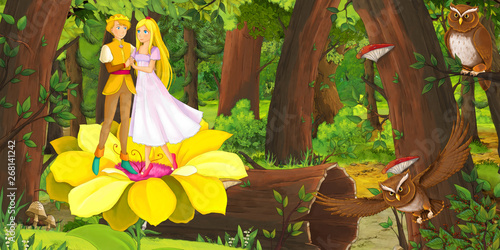 Tuinposter Sprookjeswereld cartoon scene with happy young elf girl and boy prince and princess in the forest encountering pair of owls flying - illustration for children