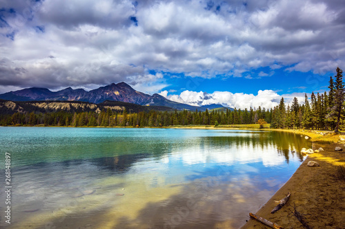 The picturesque oval lake Canvas