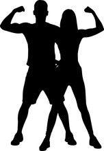 Fitness Couple Silhouette Vector
