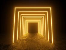 Illuminated Yellow Square Frames Passage