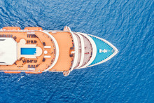 Cruise Liner Luxury Ship In Mediterranean Sea Water. Top Aerial View