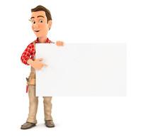 3d Handyman Pointing Empty Board