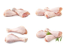 Set Of Raw Chicken Legs Isolated On White Background
