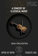 Poster For A Concert Of Classical Music With Violin On The Black Background.