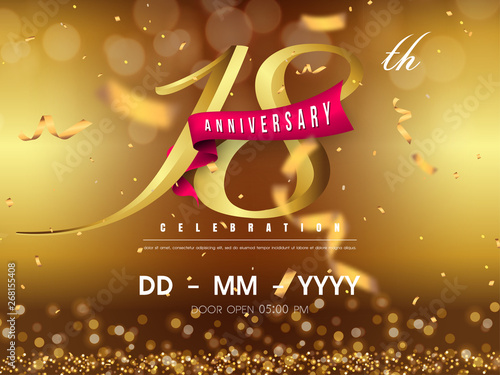 Papel de parede 18 years anniversary logo template on gold background