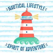 Striped Background With Lighthouse. Vector Illustration.
