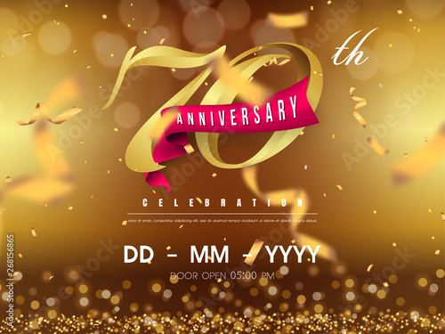 Fotografie, Obraz  70 years anniversary logo template on gold background