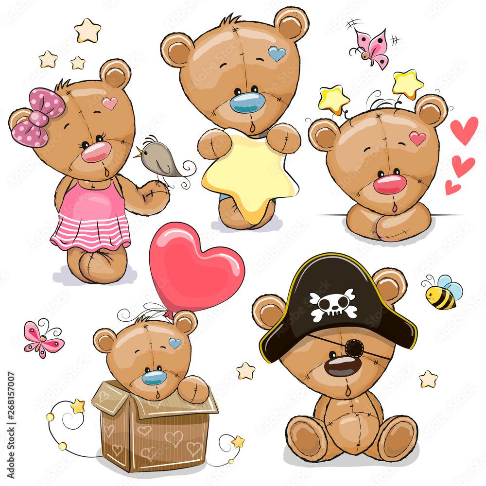 Fototapety, obrazy: Set of Cartoon Teddy Bears on a white background