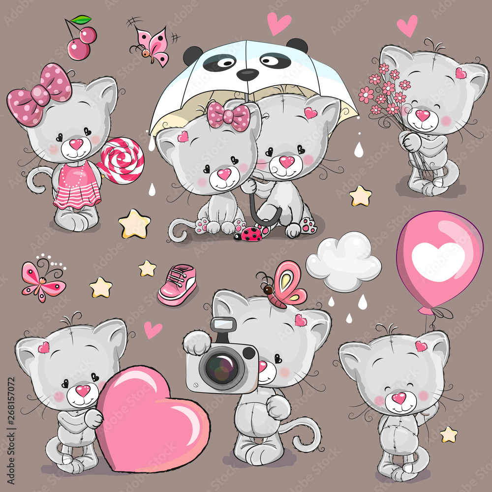 Fototapety, obrazy: Set of Cartoon Kitten on a brown background