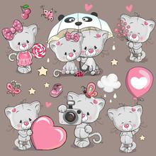 Set Of Cartoon Kitten On A Brown Background