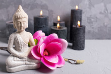 Stall Life With Buddha, Candles And  Magnolia Flowers