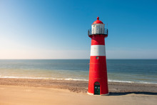 Traditional Red White Steel Lighthouse In Westkapelle, Netherlands.