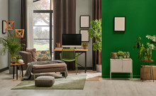 Modern Living Room With Grey Sofa And Frame, Green Wall Close Up Decoration In Front Of The Window.
