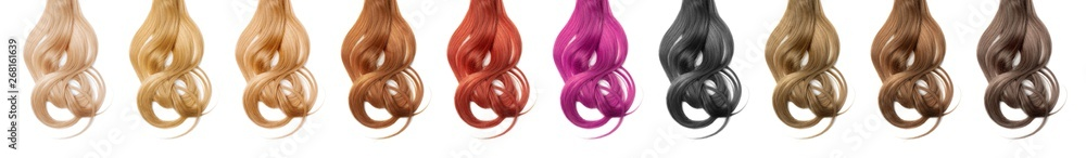 Fototapeta Collection various colors of wavy hair on white background