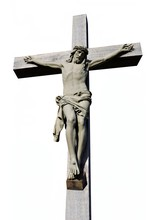 Concrete Statue Of Jesus Christ Isolated On White