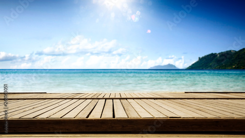 Wooden pier of  free space for your decoration and summer sunny day. Free space for your decoration.