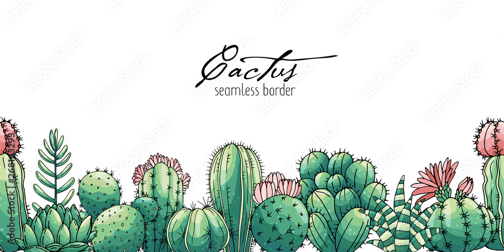 Fototapeta Poster with seamless ornament hand drawn colored lettering, cacti and succulents