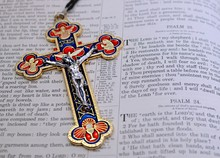 Crucifix Depicting The Trinity On Open Very Old King James Bible With No Copyright As In Public Domain