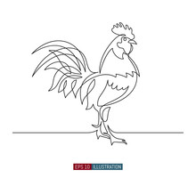 Continuous Line Drawing Of Rooster. Template For Your Design Works. Vector Illustration.