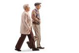 Senior husband and wife walking