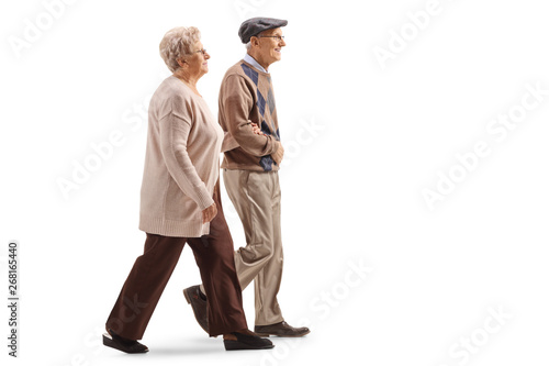 fototapeta na szkło Senior husband and wife walking