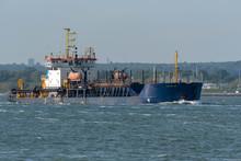 Southampton, England, UK. May 2019.  A Trailing Suction Hopper Dredger Ship Underway On Southampton Water, UK.