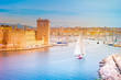canvas print picture - Aerial panoramic view of Marseille Old Port. Marseille, Provence, France. Holidays in France.