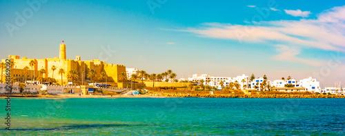 Foto auf Leinwand Beige Monastir in Tunisia is an ancient city and popular tourist destination on the Mediterranean Sea.