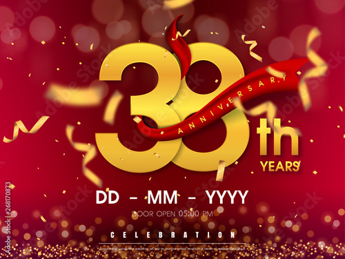 Papel de parede  38 years anniversary logo template on gold background. 38th