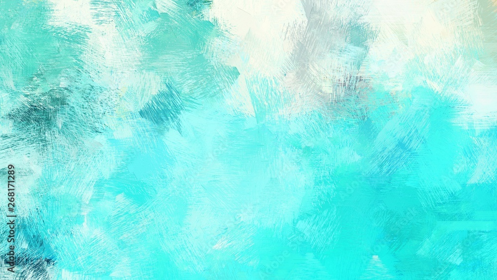 Fototapety, obrazy: dirty brush strokes background with aqua marine, turquoise and honeydew colors. graphic can be used for wallpaper, cards, poster or creative fasion design element