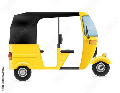 motor rickshaw tuk-tuk indian taxi transport vector illustration Fototapeta
