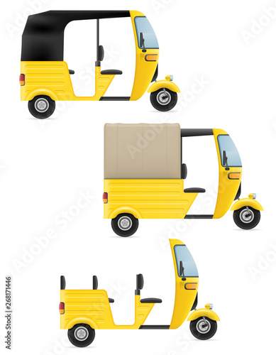 Fototapeta motor rickshaw tuk-tuk indian taxi transport vector illustration