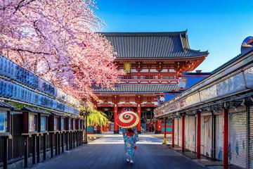 Azijska žena koja nosi japanski tradicionalni kimono u hramu u Tokiju, Japan.