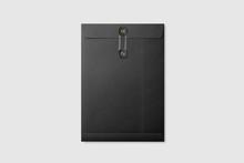 Black Paper A4/C4 Size String And Washer Envelope Mockup On Light Grey Background. High Resolution.