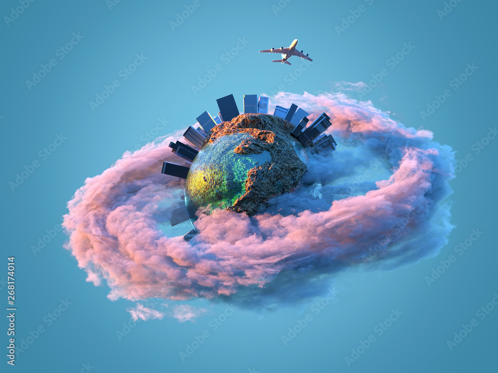 Fototapety, obrazy: airplane flies over the small planet