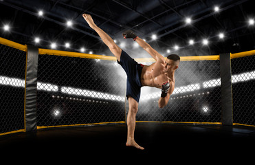 MMA fighter practicing kicks