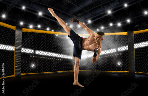 MMA fighter practicing kicks