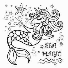 Cute Mermaid Unicorn, Coloring Book