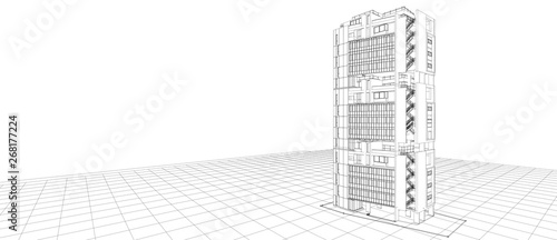 Architecture exterior facade design concept 3d building perspective wire frame r Canvas Print