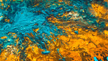 Abstract Acrylic Paint Mix Background. Yellow Sand Blue Water Effect. Modern Art Decorative Pattern. Rough Uneven Surface.