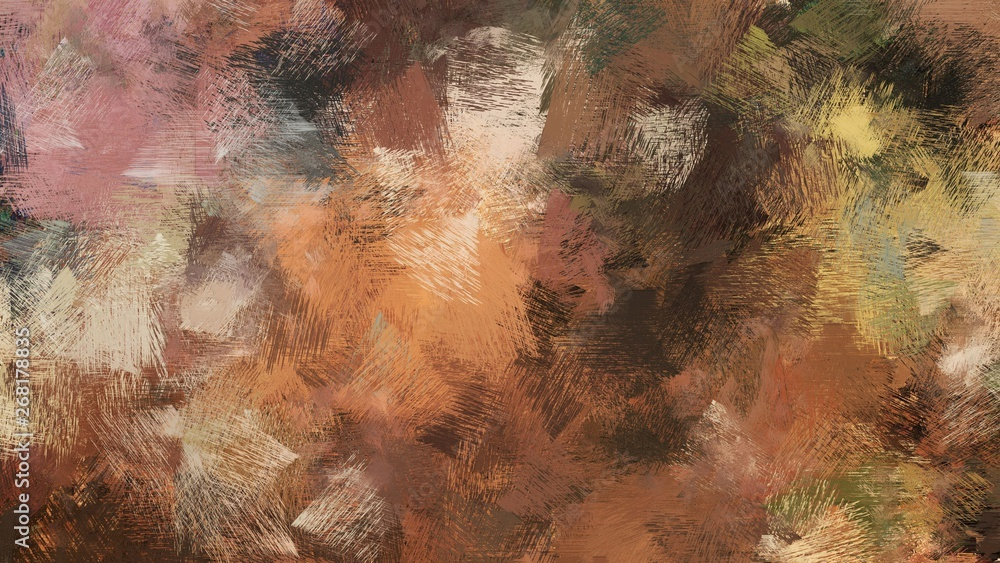 Fototapety, obrazy: old brush strokes background with pastel brown, brown and very dark green colors. graphic can be used for wallpaper, cards, poster or creative fasion design elements