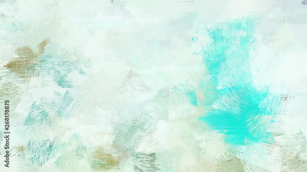 Fototapety, obrazy: broad brush strokes of lavender, turquoise and sky blue color paint. can be used for wallpaper, cards, poster or creative fasion design elements