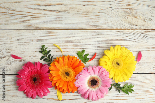 Aluminium Prints Gerbera Flat lay composition with beautiful bright gerbera flowers on wooden background. Space for text