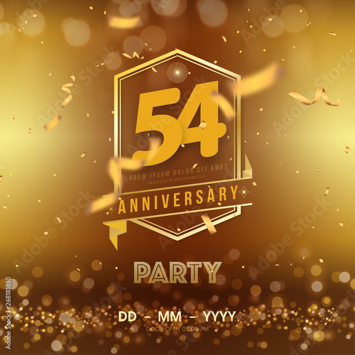 Tela  54 years anniversary logo template on gold background