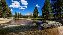 River In Lyell Canyon While Backpacking To Vogelsang High Sierra Camp In Yosemite National Park In California