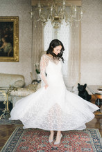 Beautiful Bride Getting Dressed